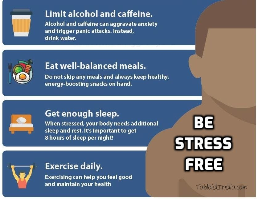 Info-graphic on how to be stress free